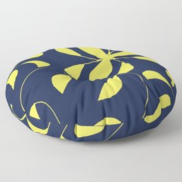 Leafy Vines Yellow and Navy Blue Floor Pillow