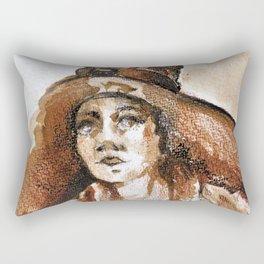 Woman With Big Sun Hat Ultra HD Rectangular Pillow