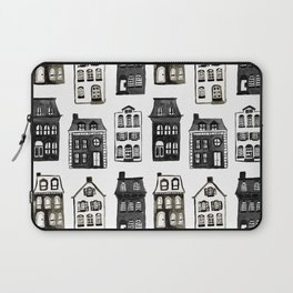 Mansard Mansions in Black + White Watercolor Laptop Sleeve
