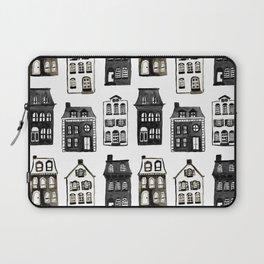 Mansard Mansions in Black + White Watercolor Laptop Sleeve