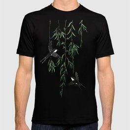 green willow leaf and swallow watercolor T-shirt