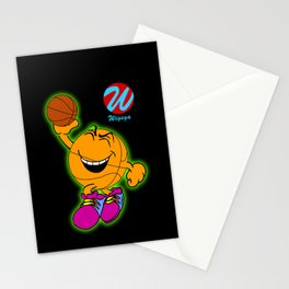 Basketball Cartoon Character Jumping for Slam Dunk Stationery Cards