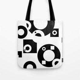 Black& White Rings Rectangle Tote Bag