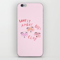 Lovely angry girl club iPhone & iPod Skin