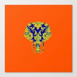 Elephant head damasks thermal color Canvas Print