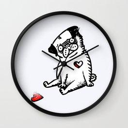 Faded Heart Pug Wall Clock