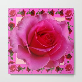 LARGE FUCHSIA PINK ROSE PATTERN ART Metal Print