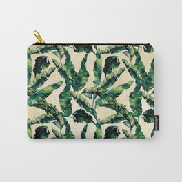 Banana Leaf Pattern Linen Carry-All Pouch