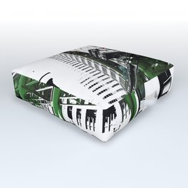 Chicago photography - Chicago EL art print in green black and white Outdoor Floor Cushion
