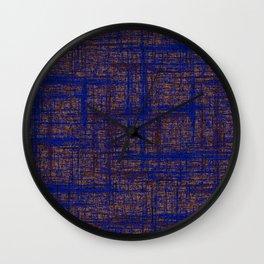 Textured Tweed - Brown & Blue Wall Clock