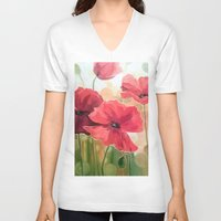 poppies V-neck T-shirts featuring Poppies by OLHADARCHUK