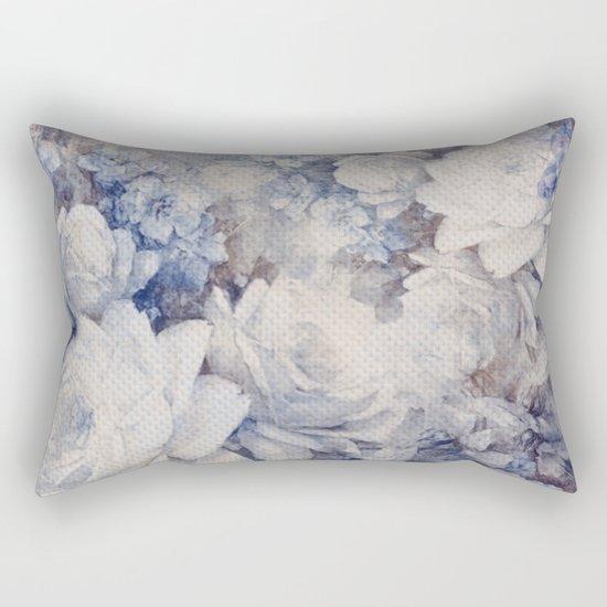 blue vintage floral Rectangular Pillow