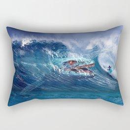 Mosasaurus attacks Surfer in a Wave Rectangular Pillow