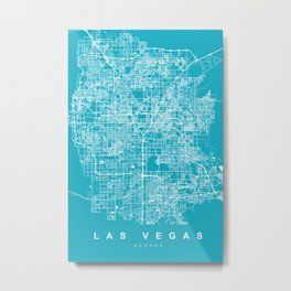 Las Vegas Map Nevada | Blue & Cyan II | More Colors, Review My Collections Metal Print