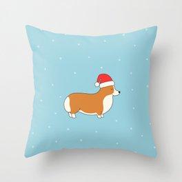Santa Corgi Throw Pillow