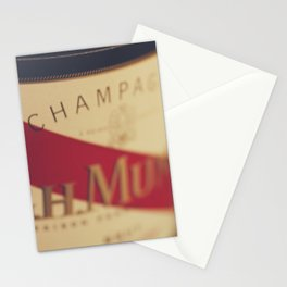 Champagne bottle, macro photography of old wine label on museum paper, still life, bar, home decor Stationery Cards