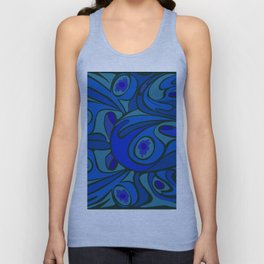Rooster in Dark Blue/Green Unisex Tank Top