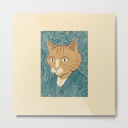 Cat Gogh Metal Print