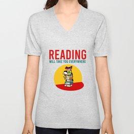 Reading will take you everywhere Unisex V-Neck
