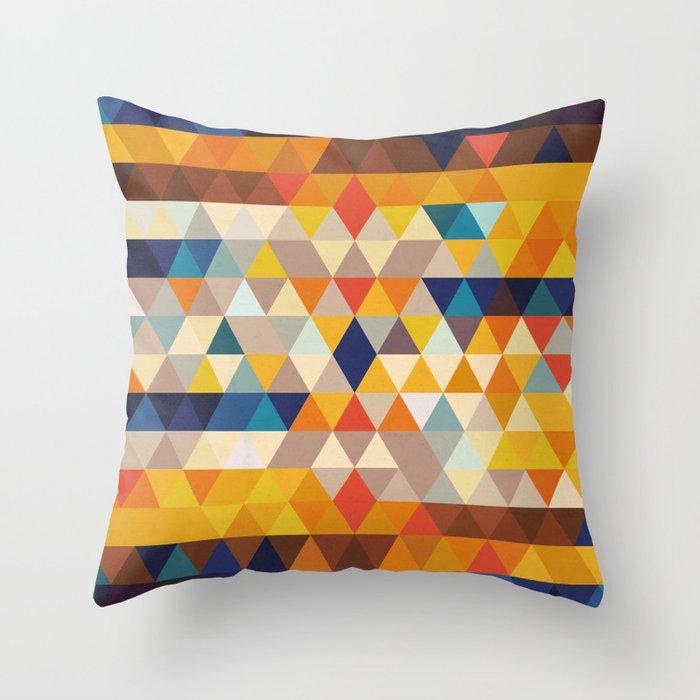 Geometric Triangle Ethnic Inspired Pattern Orange Blue Throw Pillow By Pelaxy