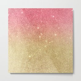Pink abstract gold ombre glitter Metal Print