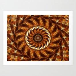 Brown Tan Gold Kaleidoscope Art 11 Art Print