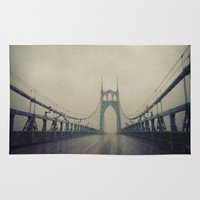 marc johns Area & Throw Rugs featuring St. Johns Bridge by Leah Flores