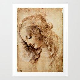 "Leonardo da Vinci ""Woman's head"" 3. Art Print"