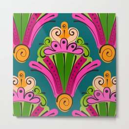 Hand-Drawn Deco Fan in Gelati Brights (Pattern) Metal Print