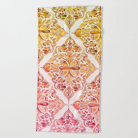 Sunset Art Nouveau Watercolor Doodle Beach Towel