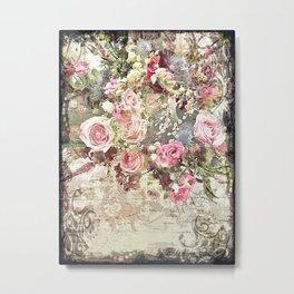 Shabby Chic Rococo Roses Metal Print