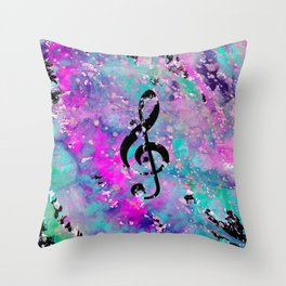 Artistic neon pink teal black watercolor classical music note Throw Pillow