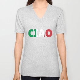 Ciao Hello Italy Flag Gift Unisex V-Neck