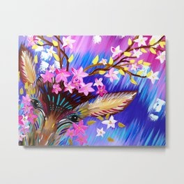 Deer Painting with Abstract Colours Metal Print