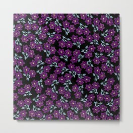 'Violet Compliment' Purple & Blue flowers design Metal Print
