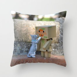 Danbo and cat #11 Throw Pillow