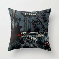 rock n roll Throw Pillows featuring Rock 'n Fucking Roll by Eric Rasmussen