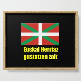 Flag of Euskal Herria 5 -Basque,Pays basque,Vasconia,pais vasco,Bayonne,Dax,Navarre,Bilbao,Pelote,sp Serving Tray