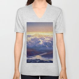 Stunning View Of Mountain Range Ultra HD Unisex V-Neck