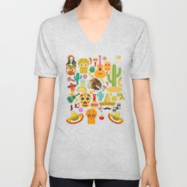 Fiesta Time! Mexican Icons Unisex V-Neck