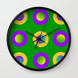 Mardi Gras Polka Dots Wall Clock