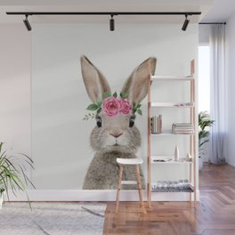 Baby Rabbit with Flower Crown Wall Mural