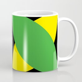 Green Yellow four-leaf clover in a strong deep dark black sky. They are hugging.They love each other Coffee Mug