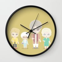 golden girls Wall Clocks featuring Girls in their Golden Years by Ricky Kwong
