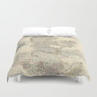 denmark Duvet Covers featuring Vintage Map of Denmark (1862) by BravuraMedia