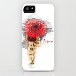 Japanese woman wearing a kimono and holding an umbrella iPhone Case