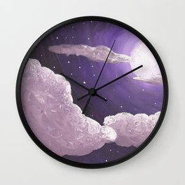 Purple Full Moon and Clouds Wall Clock