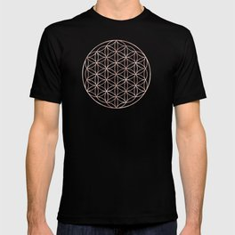 Mandala Flower of Life Rose Gold Space Stars T-shirt