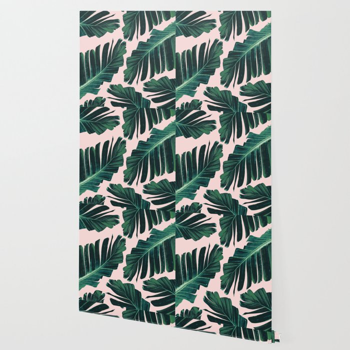 Tropical Blush Banana Leaves Dream #1 #decor #art #society6 Wallpaper