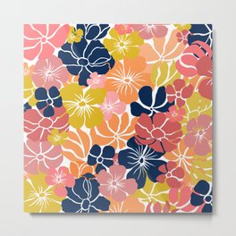 Fun, Floral Prints, Navy Blue, Pink, Orange, Yellow Metal Print